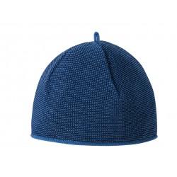 Melange-Mütze aus Schurwolle in blau