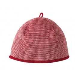 Melange-Mütze aus Schurwolle in rot
