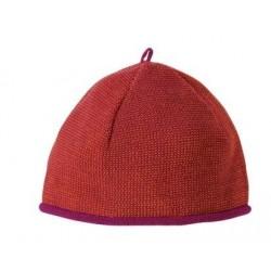 Melange-Mütze aus Schurwolle in beere