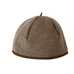 Melange-Mütze aus Schurwolle in haselnuss